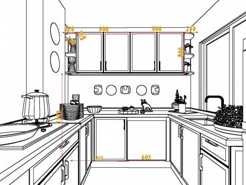 厨房布局简笔画