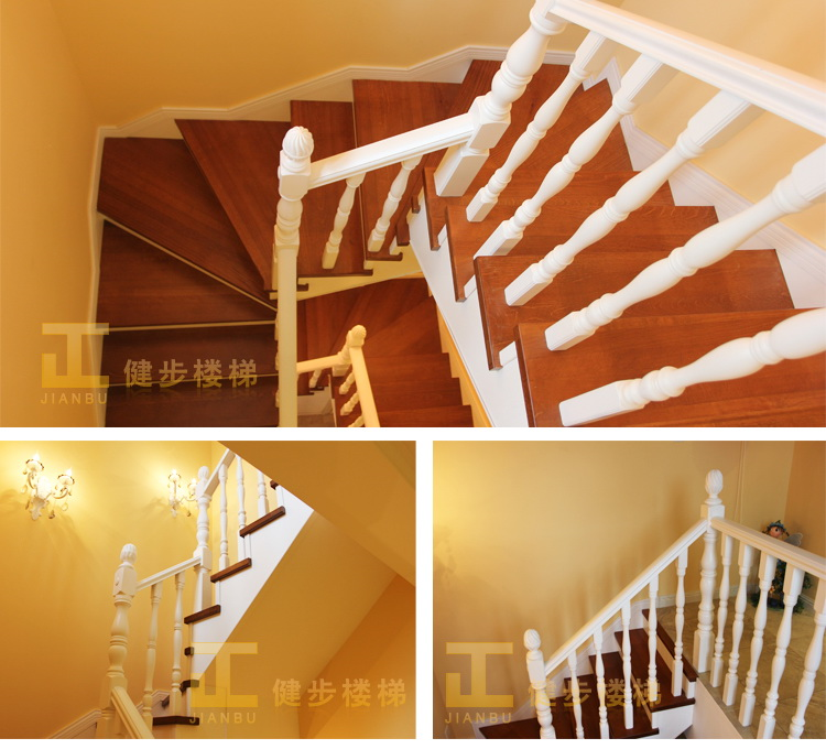 上海健步楼梯 简约欧式风格 实木楼梯 木栏杆 sm055