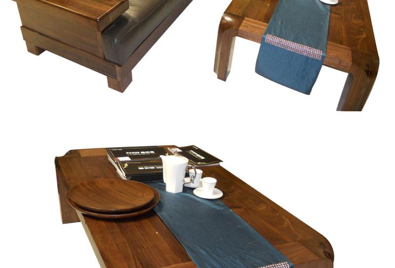 弗沃德北美黑胡桃木 皮木结合 胡桃木沙发 转角沙发+大茶几