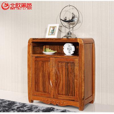 北欧篱笆巴辛胡桃木储物柜纯实木矮柜餐边柜小柜子
