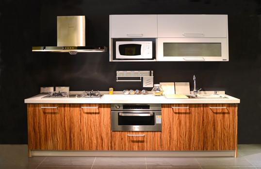 厨房橱柜高光模压板吸塑板+石英石+烟机+灶台+水槽图片