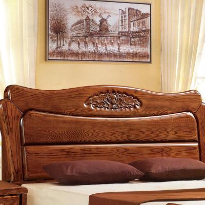 木锦美家 高端榆木床 胡桃色木床 1.8米实木床婚床