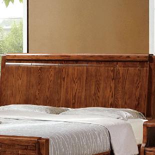 木锦美家 高端榆木床 1.8米双人床 胡桃色木床