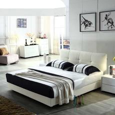 新款小户型牛皮软床 白色双人真皮床 六尺1.8米婚床L101|小尺寸,大空间,牛皮床可定制储物床箱,