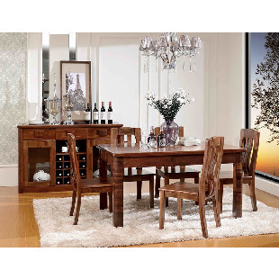 胡桃木家具高档纯实木胡桃木餐桌椅组合饭桌套房家具现代中式包邮