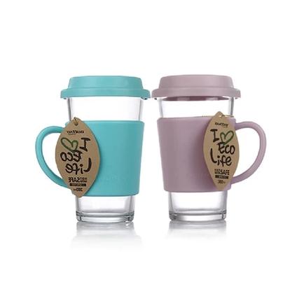 韩国玻璃水杯情侣杯 炫彩玻璃杯套装