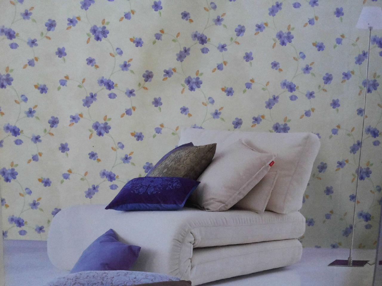 韩式田园风格电视背景墙柔情似水的碎花墙纸烘   电视墙背