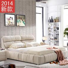 舒适豪华加高布床新款五尺婚床  1.8米双人床 时尚布艺床上海品牌231