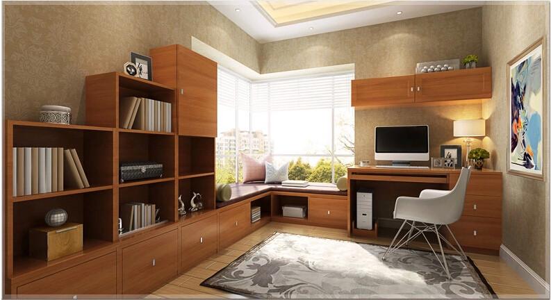 索菲亚简约书房家具定制 转角飘窗榻榻米 收纳柜 写字图片