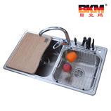 贝克玛卫浴 厨房不锈钢双斗水槽BKM SC8448B 带刀架槽拉丝表面