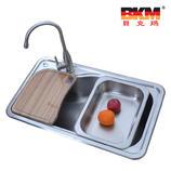 贝克玛卫浴 厨房不锈钢单斗水槽 BKM SC8349 大湾斗进口拉丝面