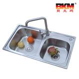 贝克玛卫浴 厨房不锈钢双斗水槽 BKM 8043-S 洗菜盆 SUS304拉丝面