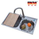贝克玛卫浴厨房不锈钢双斗水槽BKM 7945一体成型拉丝面