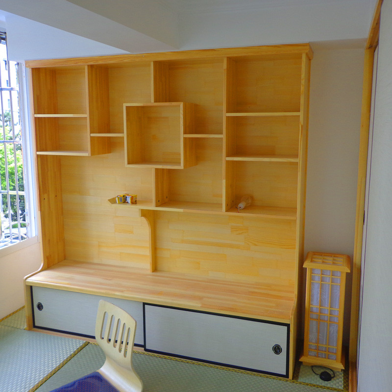 唐蕴和室榻榻米日式书柜书架书桌博古架多宝格矮柜松木柜书橱定做