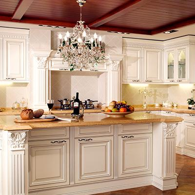 欧睿宇邦整体橱柜定做厨房厨柜定制欧式实木门板石英石台面厨柜