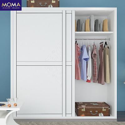 摩玛衣柜 卧室家具简易整体衣柜吸塑移门衣柜隔断推拉门衣柜定做