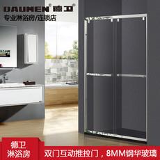 【不锈钢】德卫淋浴房    DM-1060  一字型双门互动推拉门