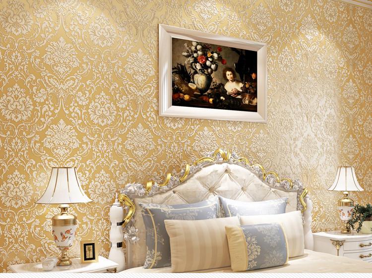 米兰墙纸 大马士革经典 无纺布墙纸 浮雕款 客厅用 欧式风格