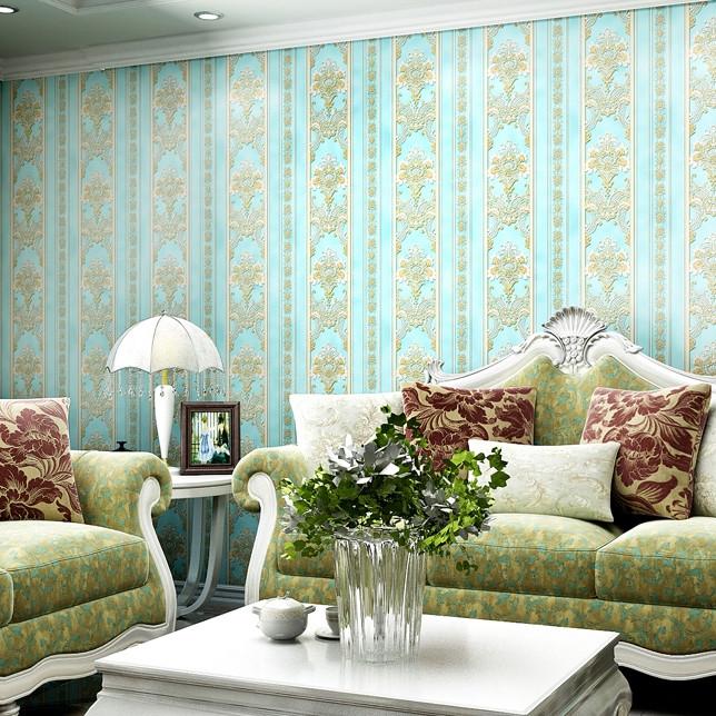 米兰墙纸 欧式客厅墙纸3d立体无纺布蓝色竖条纹壁纸卧室温馨