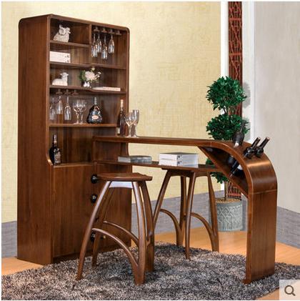 柚木家具 客厅玄关柜实木电脑桌家用储物柜台 高脚酒吧椅简约吧台
