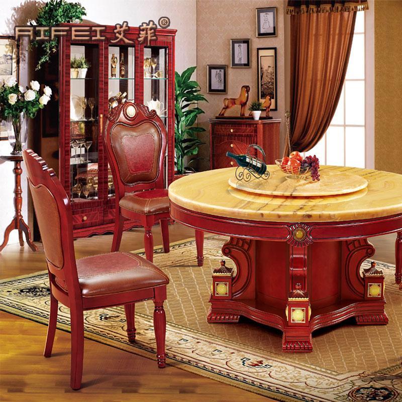 艾菲 旋转组装大理石支架结构橡木圆形欧式 餐桌