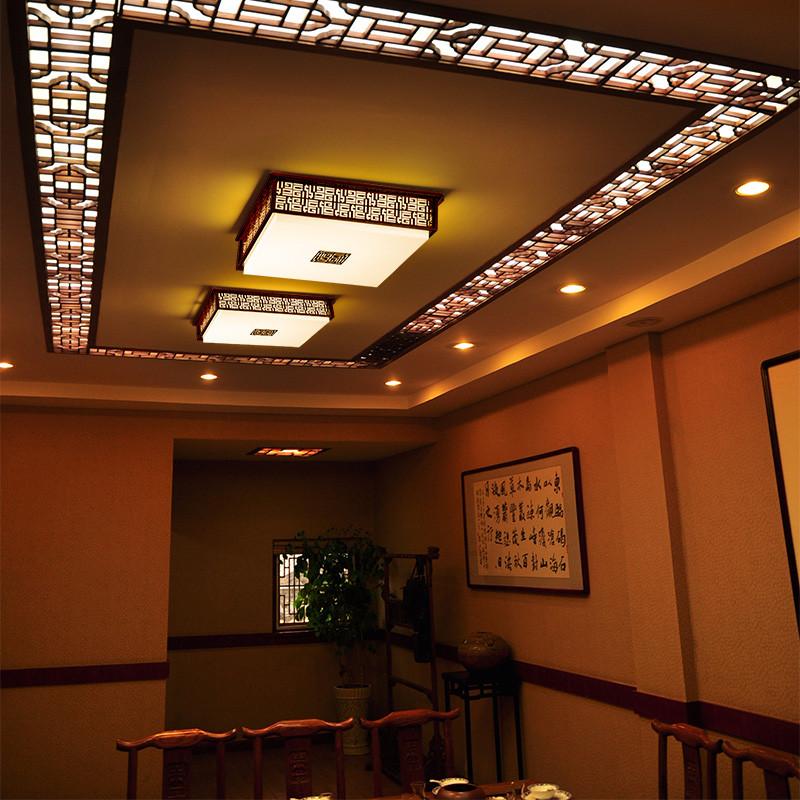 奥果 有机玻璃铁现代中式镂空雕花长方形 吸顶灯
