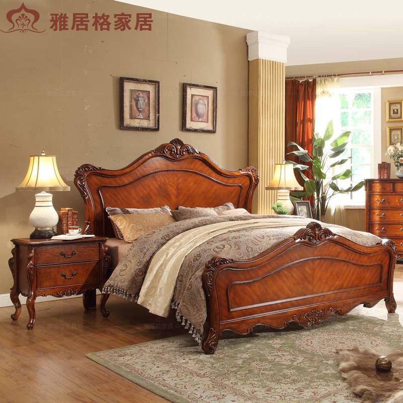 雅居格实木床实木床橡胶木框架结构美式乡村雕刻床