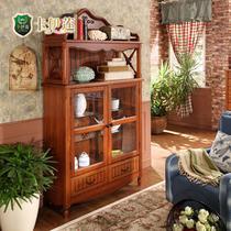 楸木色酒柜酒架装饰柜框架结构储藏美式乡村 装饰柜