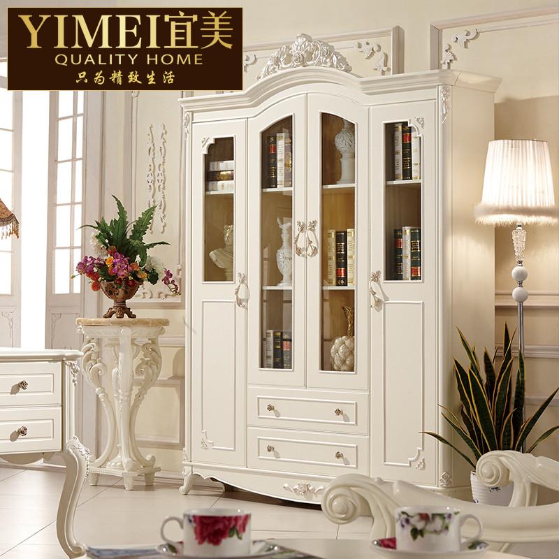 宜美家居 框架结构橡木储藏植物花卉成人欧式 书柜