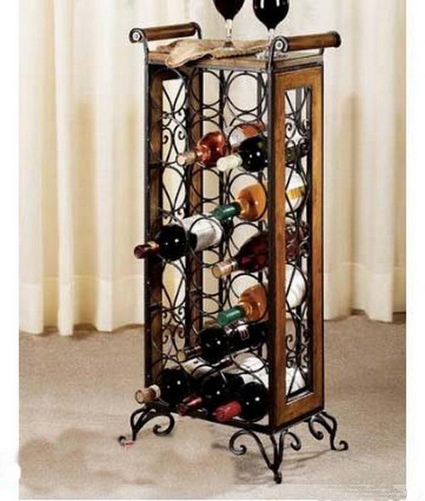 新家美 焊接铁金属工艺箱框结构移动置地欧式 酒架