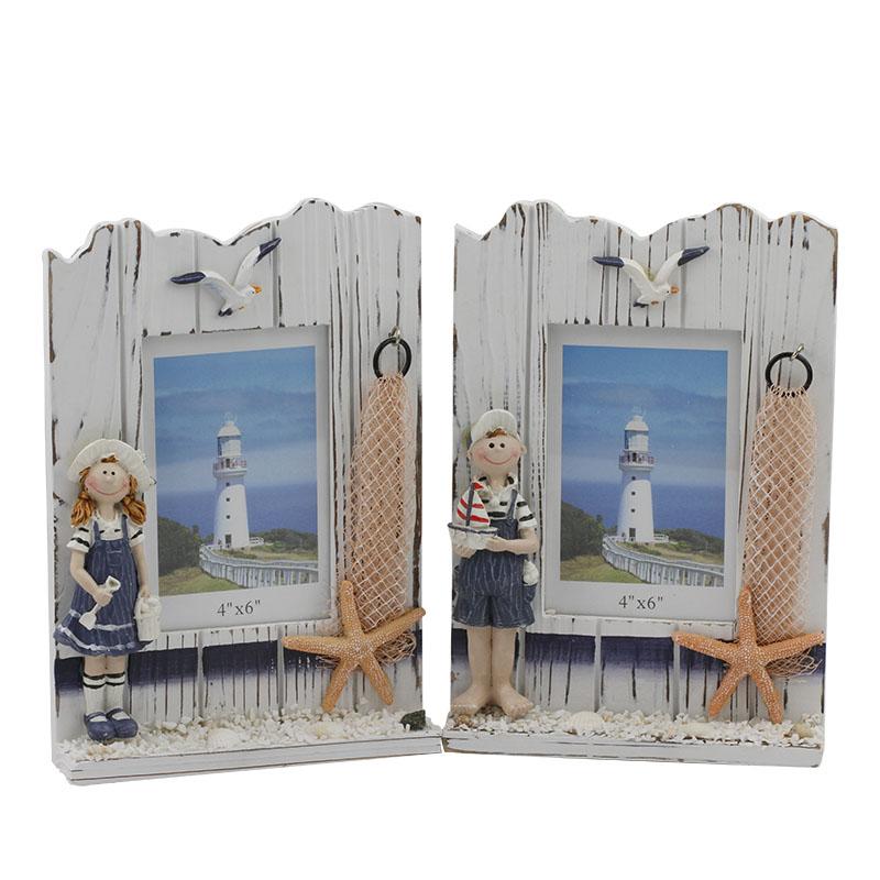 男孩女孩木相框长方形地中海