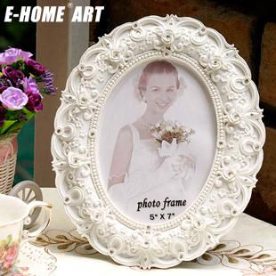 e-home 白色树脂相框圆形欧式 相框
