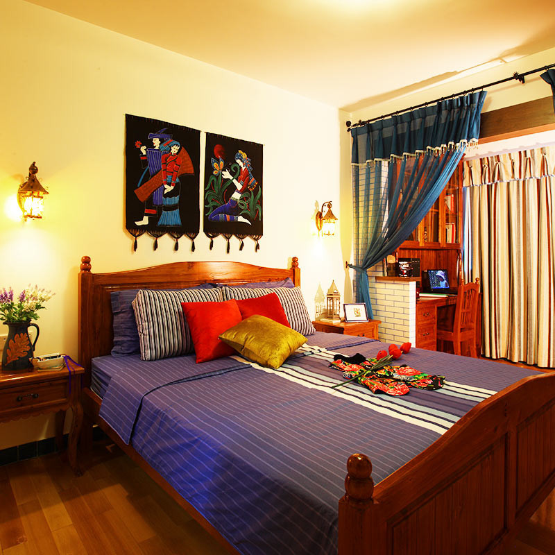 150㎡欧式风格三居装修卧室搭配图