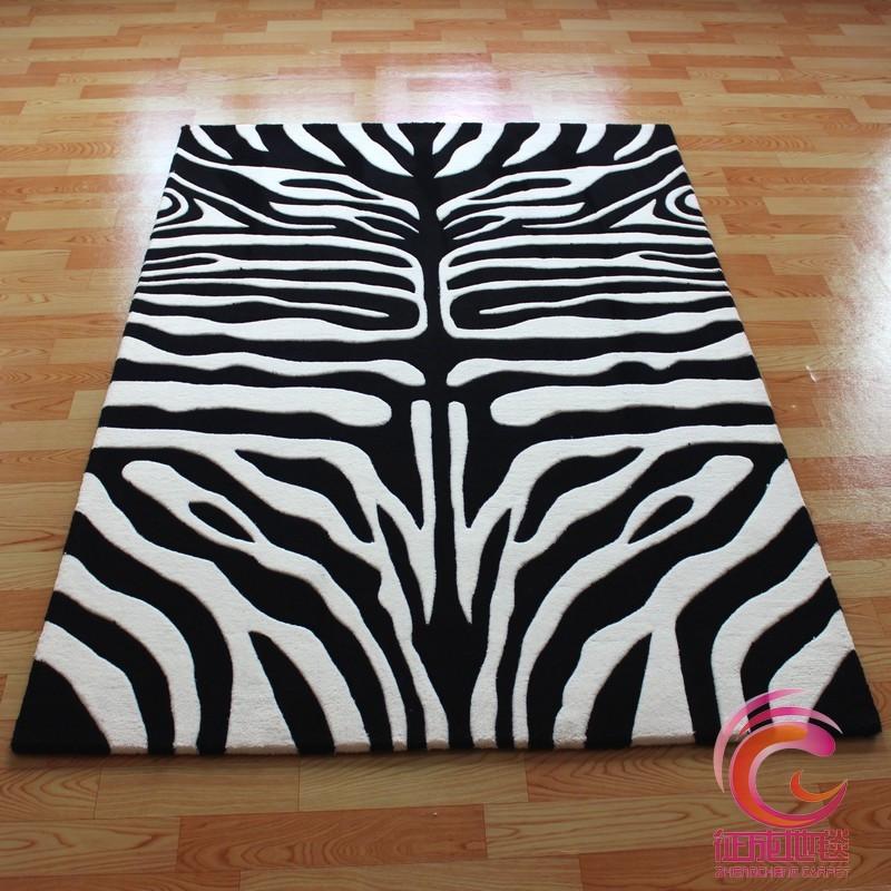 征成黑白配化纤简约现代腈纶条纹长方形手工织造地毯