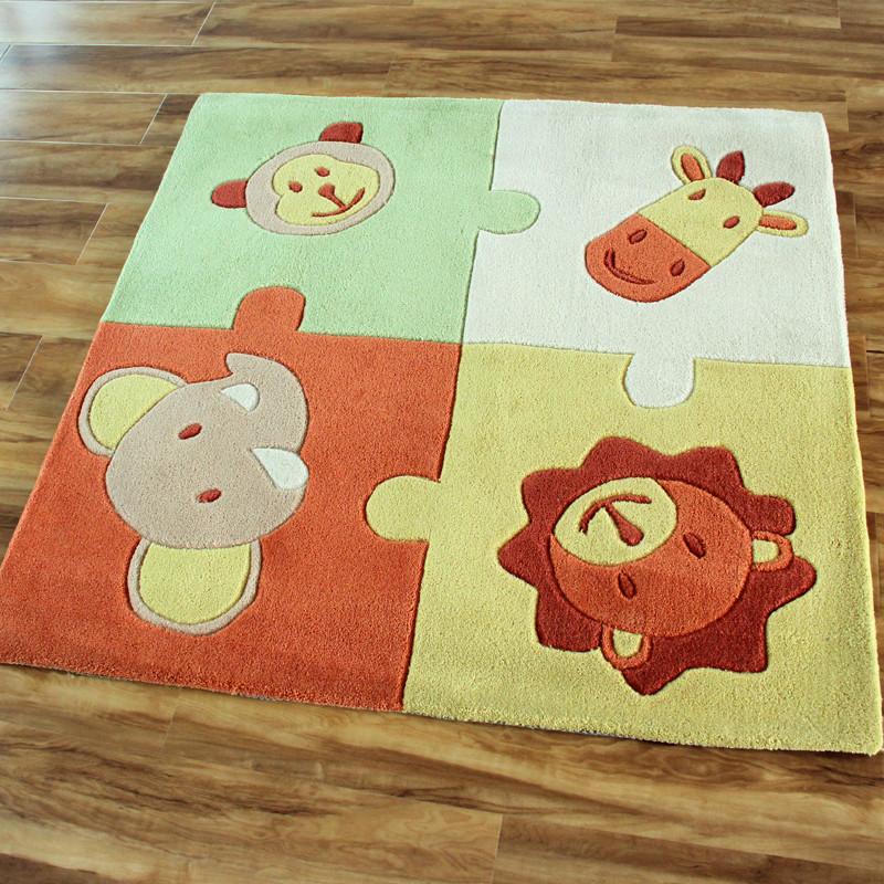 秀宁 卡通娃娃可爱动物化纤腈纶卡通动漫正方形手工织造 地毯