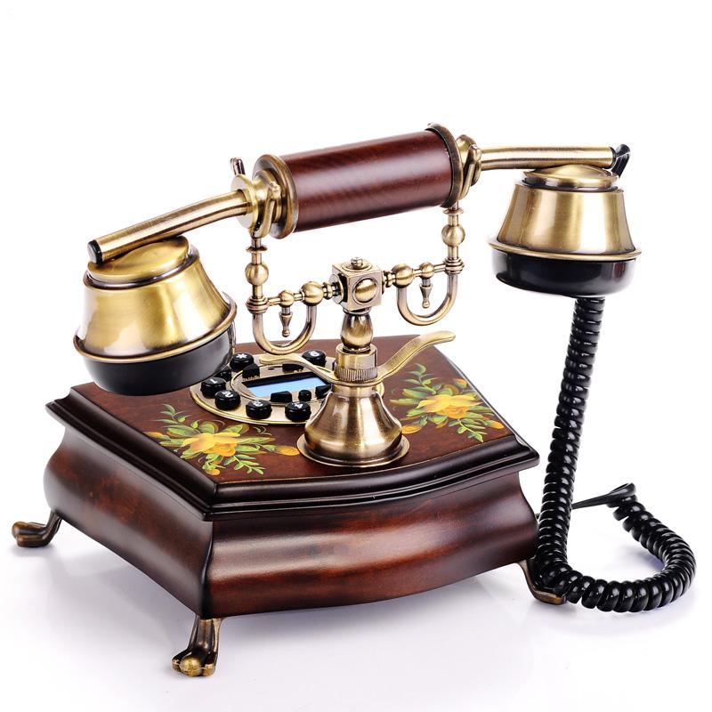 棕色手绘白色手绘有绳电话座式仿古/工艺/古董电话全国联保 电话机