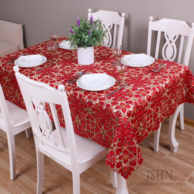 锦色华年 红色布植物花卉欧式 tc81020桌布