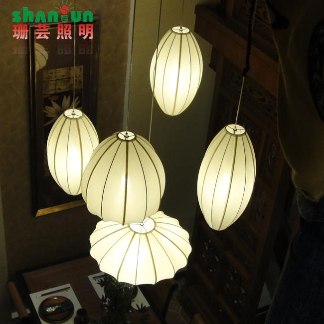珊芸 布铁现代中式手工编织节能灯led 吊灯