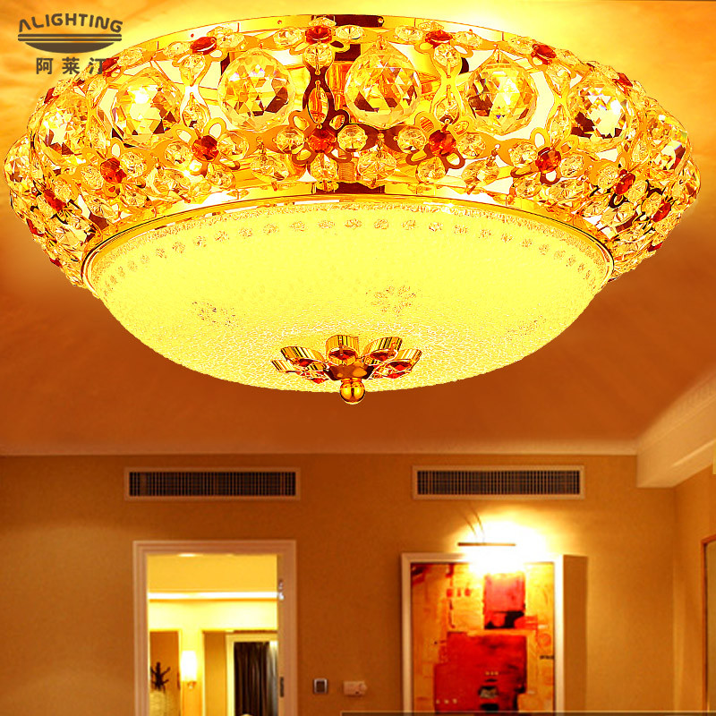 阿莱汀 水晶合金欧式电镀圆形白炽灯节能灯led 吸顶灯