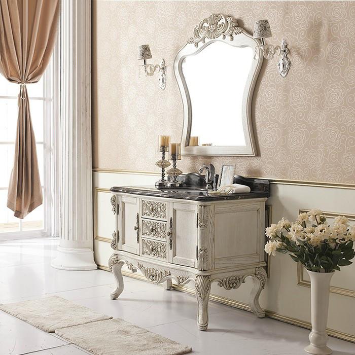 德莱尼 橡木含带配套面盆大理石台面e0级欧式 浴室柜