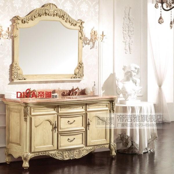帝洁雅 橡胶木含带配套面盆大理石台面欧式 d9027浴室