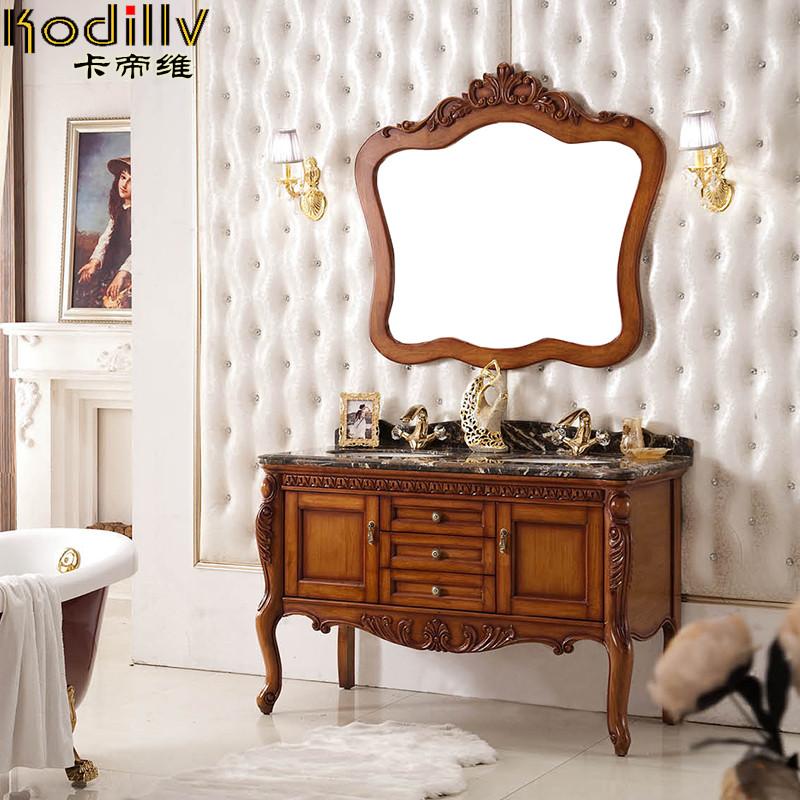 卡帝维 橡木含带配套面盆大理石台面e0级欧式 kdw-713浴室柜