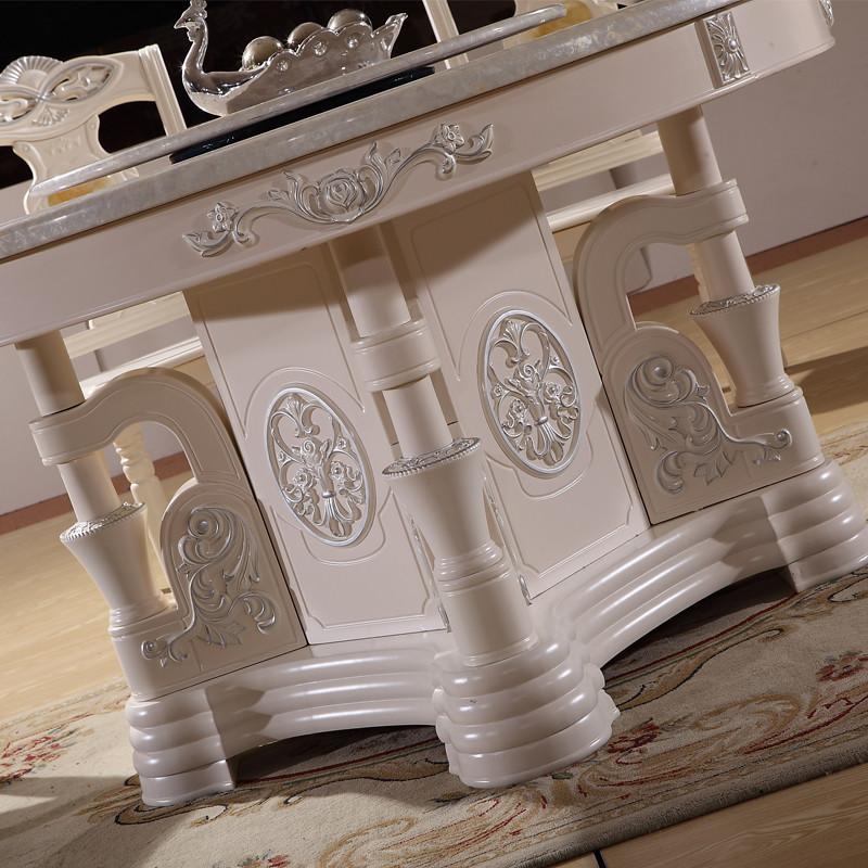 丽诺威轩 旋转组装大理石支架结构橡木拆装艺术圆形欧式 a583餐桌