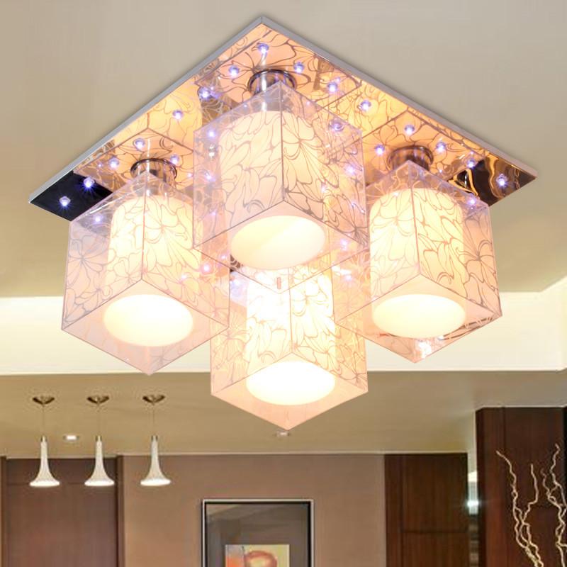 丰耀 玻璃不锈钢简约现代镂空雕花正方形节能灯led 吸