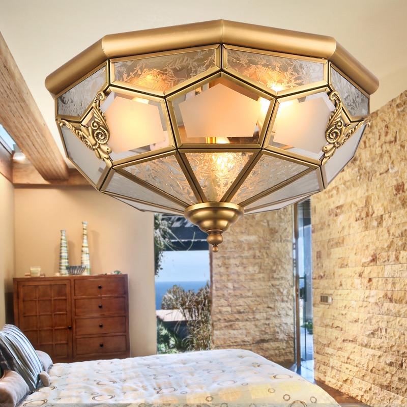 瑝玛 大号小号玻璃铜欧式手工编织圆形白炽灯节能灯led 吸顶灯