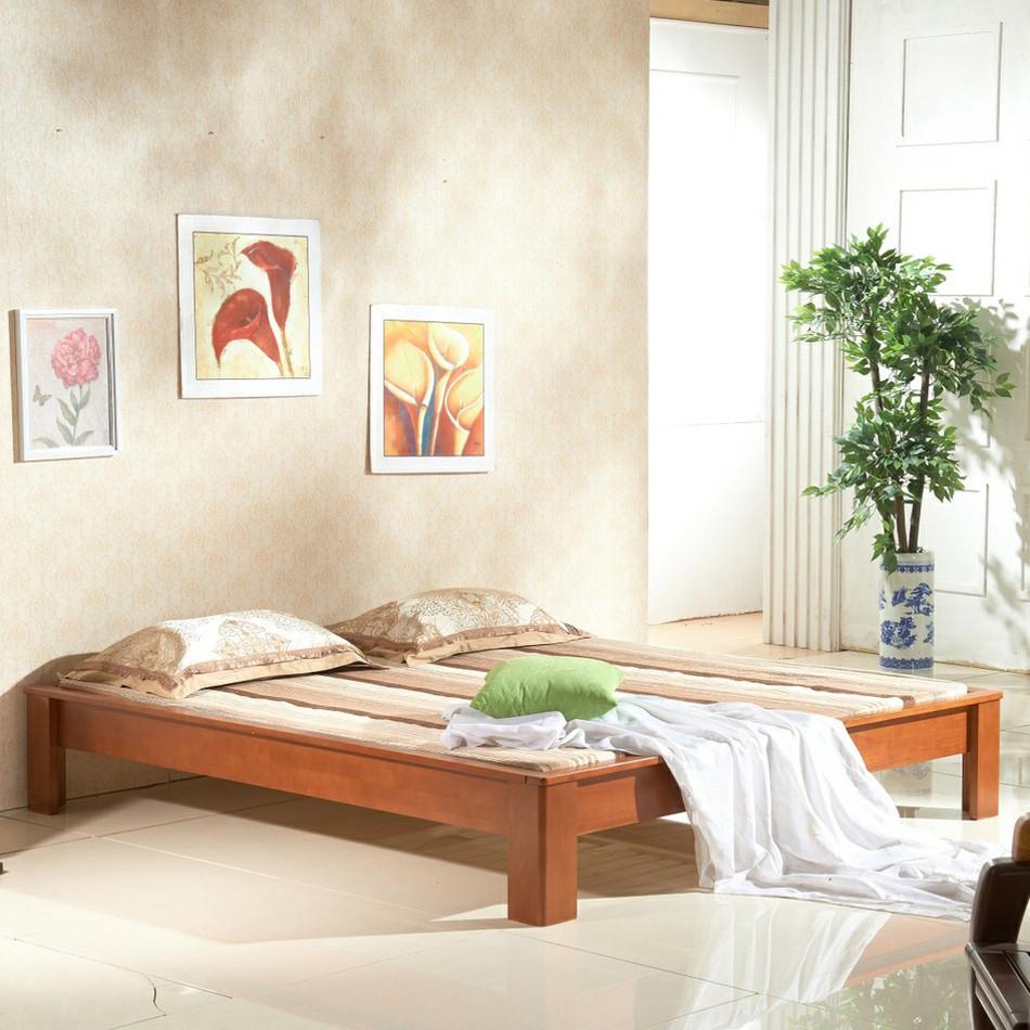 李府家缘 海棠色原木色松木框架结构简约现代 床