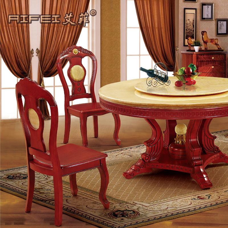 艾菲 组装大理石支架结构橡木圆形欧式 餐桌