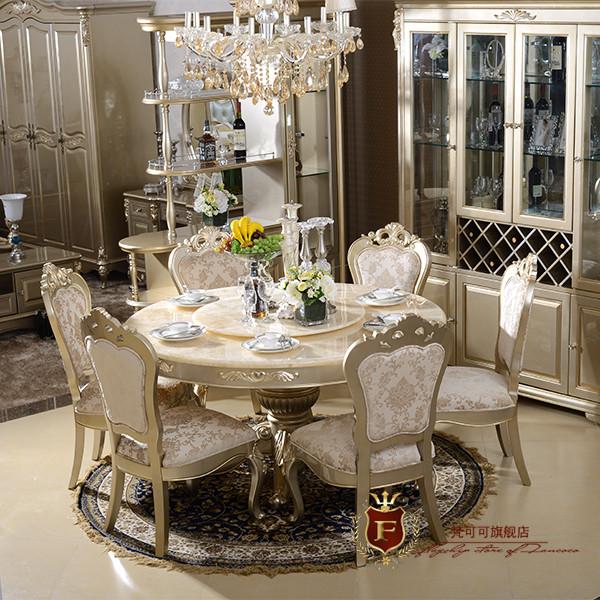 梵可可 组装大理石支架结构橡木拆装艺术圆形欧式 餐桌