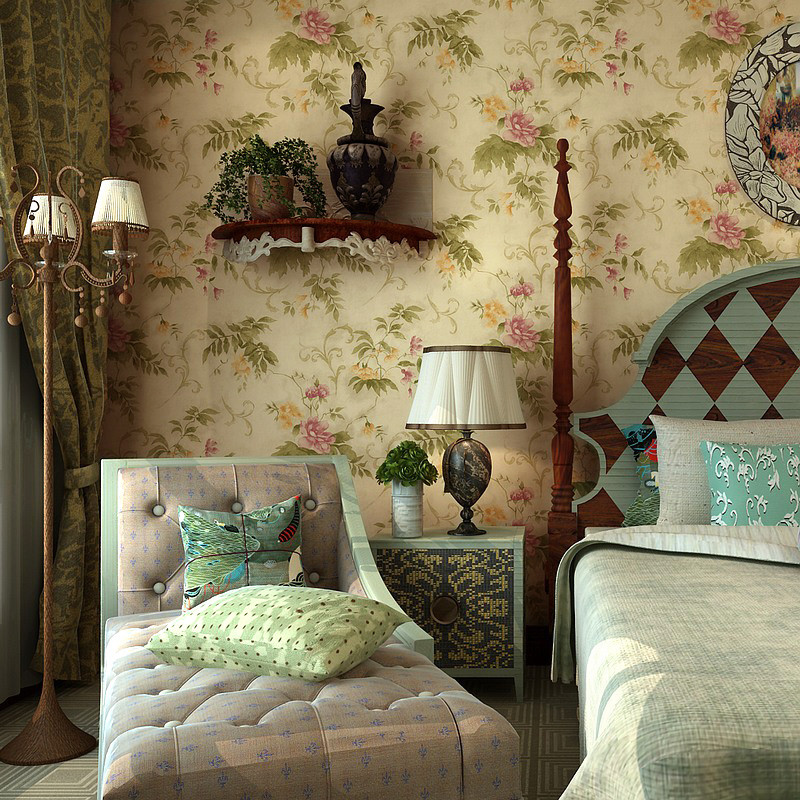 歌诗雅 49 复古黄印花有图案大花客厅美式乡村 墙纸