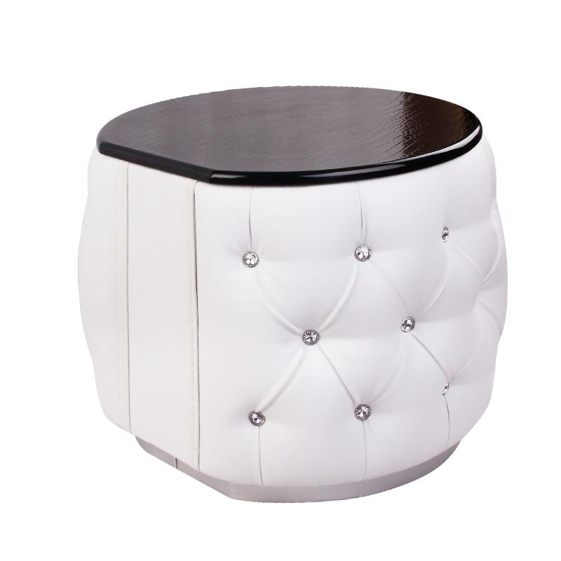 白色玻璃框架结构储藏成人简约现代床头柜